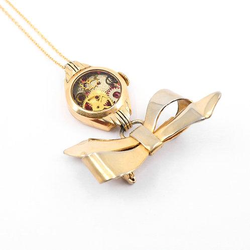 Steampunk Antique Pocket Watch Necklace - Brooch