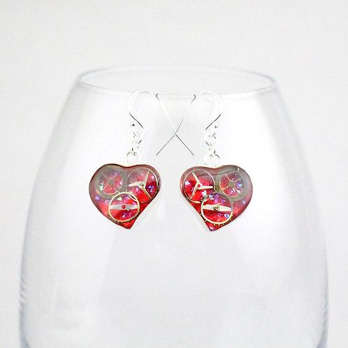 Steampunk Silver Heart Earrings
