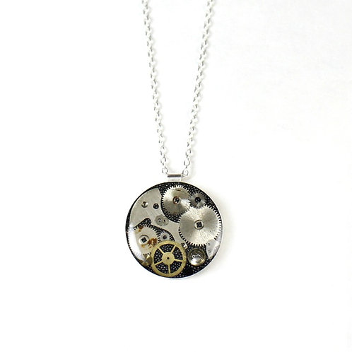 Steampunk Large Silver Circle Necklace