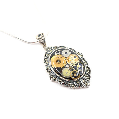 Steampunk Antique Style Oval Sterling Silver Necklace