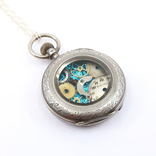 Steampunk Antique Pocket Watch Necklace - Blue
