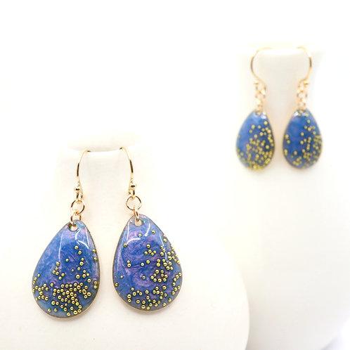 Mother & Daughter Tear Drop Earrings Set - Iridescent Purple