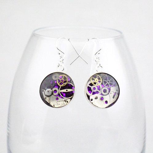 Steampunk Silver Circle Earrings