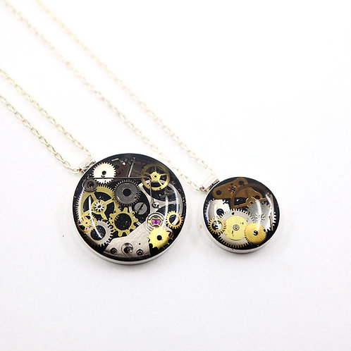 Mother & Daughter Steampunk Necklace Set - Silver Round
