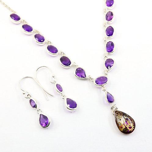 Steampunk Amethyst Gemstone Necklace Set