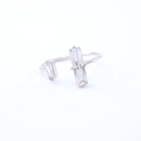 Rectangle Cubic Zirconia Open Ring