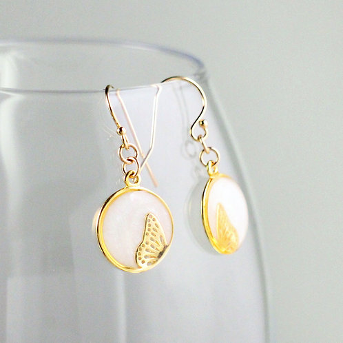 Dancing Butterfly Gold Earrings