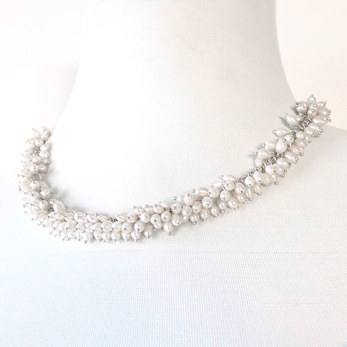 White Freshwater Pearl Cluster Necklace Set