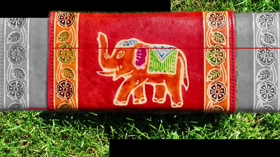 Leather Hand Paintet Purse Wallet