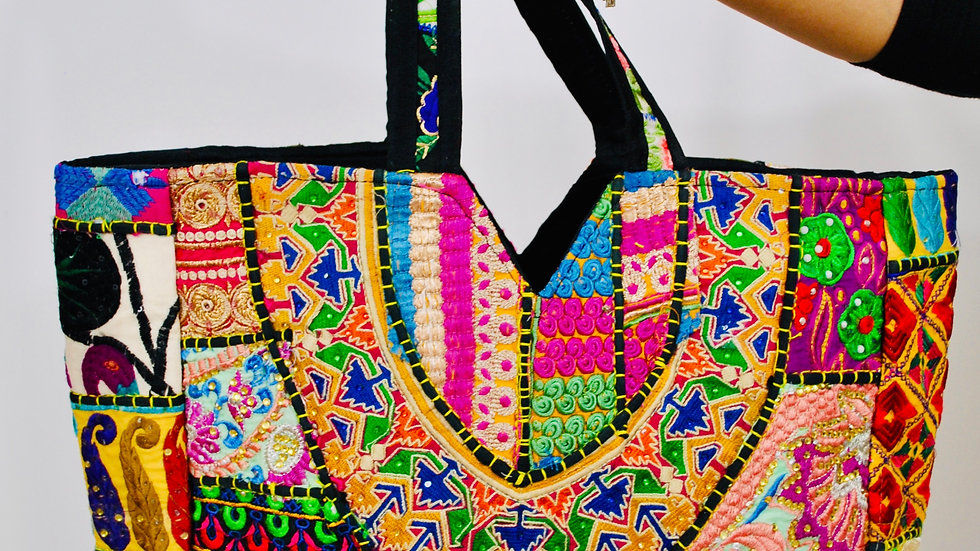 Boho Banjara Handcrafted Embroidered Patchwork Eco Friendly Cotton Large Handbag