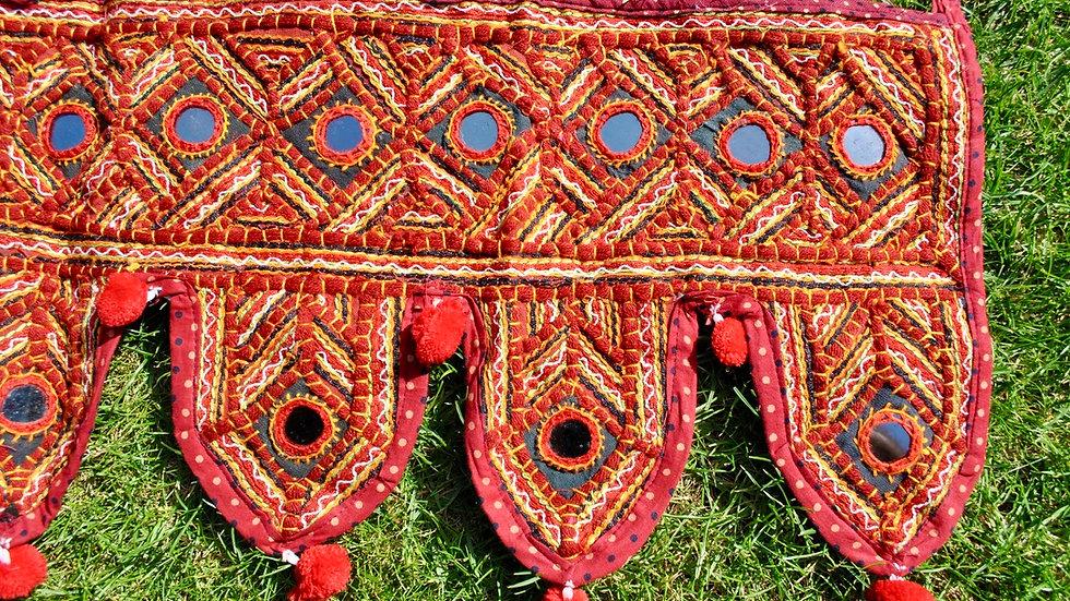 Gujarati Gamthi Style Vintage Handmade Toran - Kutch Embroidered Fringe Tassels