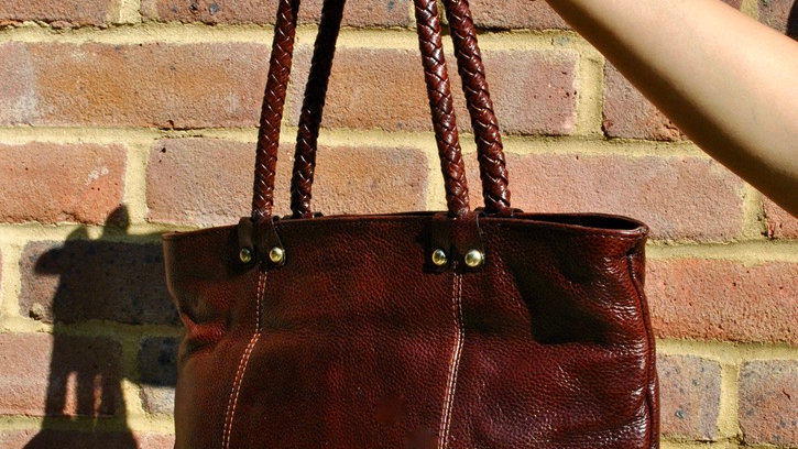 Leather Cross Stitch Handle Tote Bag