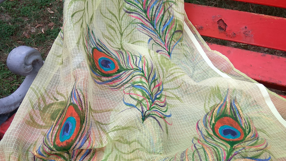 PEACOCK FEATHER GREEN SCARF