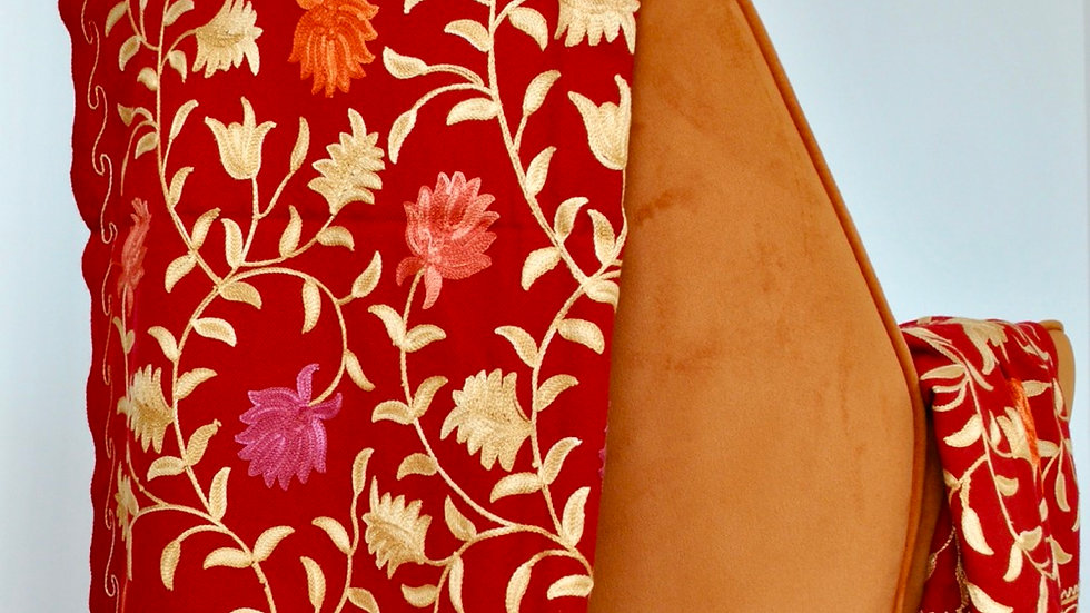 Red Floral Hand Woven Kashmir Woolen Scarf
