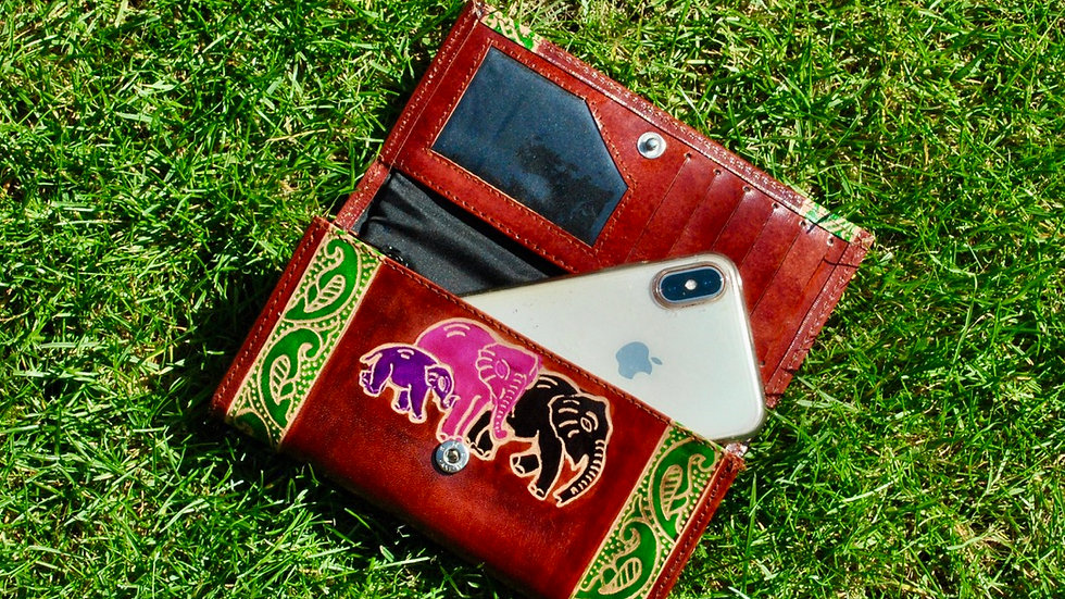 Leather Hand Painted Purse Wallet