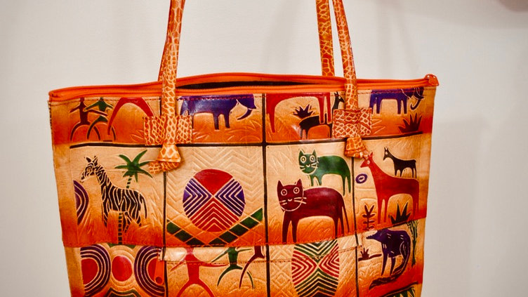 Leather Shantiniketan Boho Shoulder Tote Bag Hand Painted