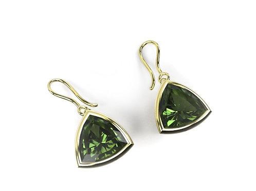 Green Tourmaline & Yellow Gold Drop Earrings
