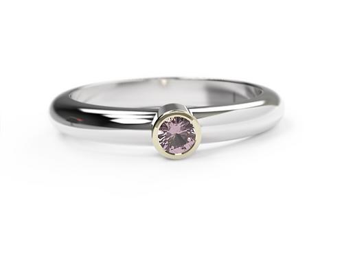 Pink Tourmaline Gold & Silver Ring