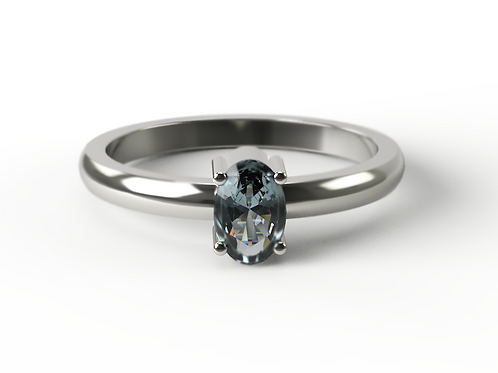 Oval Cut London Blue Topaz & Silver Ring