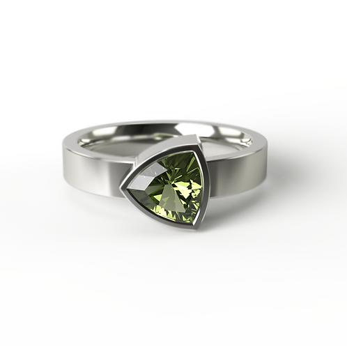 Trillion Cut Peridot Silver Ring