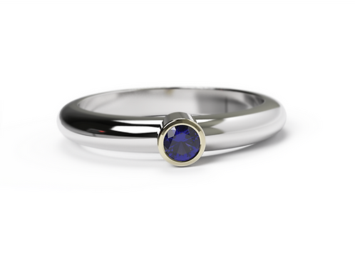 Blue Sapphire Gold & Silver Ring