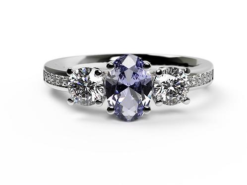 Tanzanite & Diamond Platinum Engagement Ring