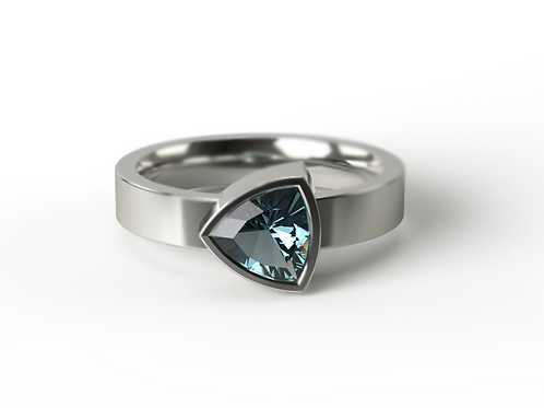 Trillion Cut London Blue Topaz Silver Ring