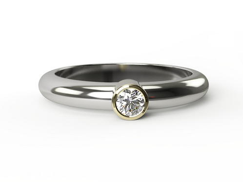 Diamond White & Yellow Gold Ring
