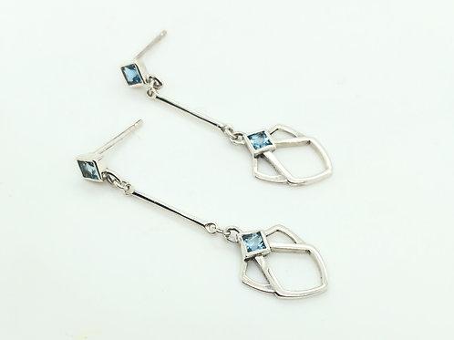 Aquamarine Deco Drop Earrings