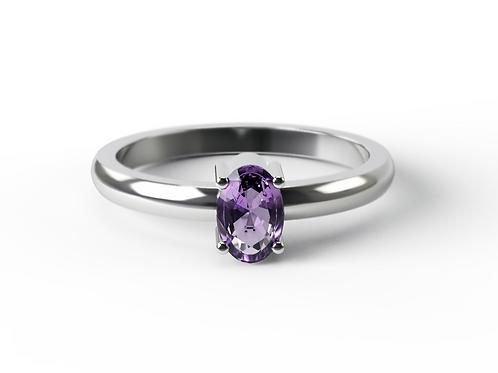 Oval Cut Amethyst &  Silver Ring
