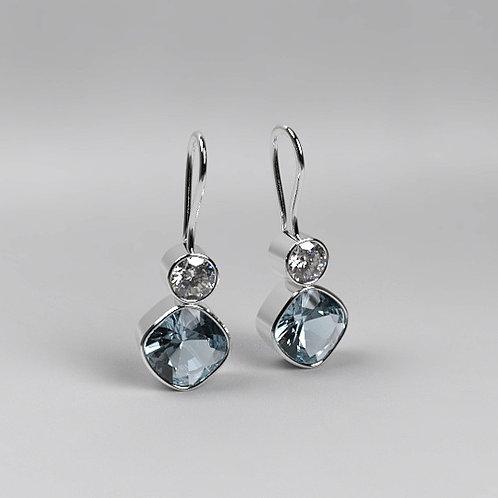 Aquamarine & Moissanite Drop Earrings