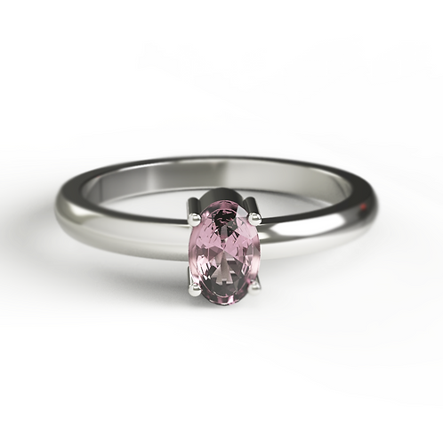 Oval Cut Pink Tourmaline & Silver Ring