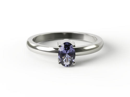 Oval Cut Tanzanite & Silver Ring