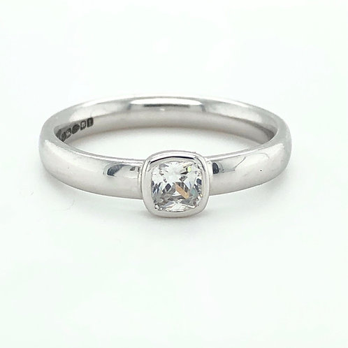 Fine Cushion Cut Diamond & Platinum Ring