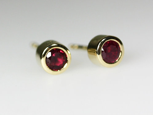 Fine Ruby &  18ct Yellow Gold Stud Earrings