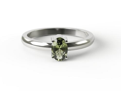Oval Cut Peridot & Silver Ring