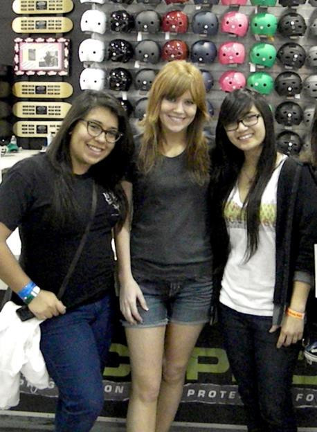 Kathryn Caceras (Vans), Crys Worley, and Alex Ritchie at an A.Skate Clinic at Vans Skatepark at the Block in Orange, CA, in 2011.