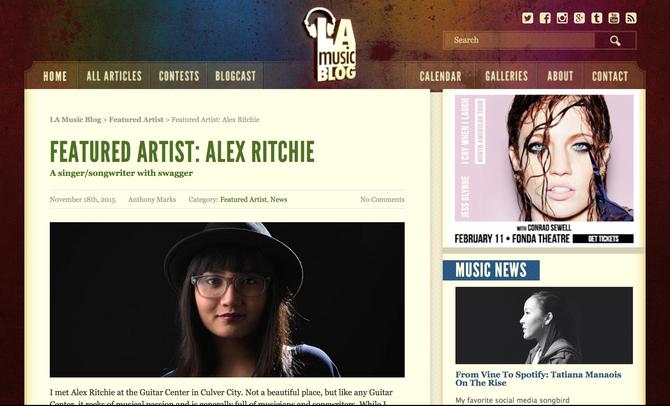 LA Music Blog features Alex Ritchie