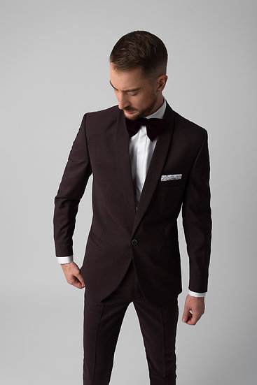 The Burgundy Black Suit