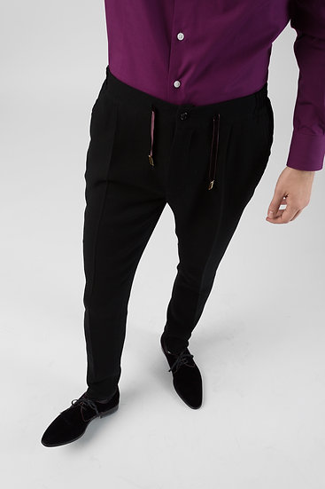 Soft Black Wool Pleats Trousers