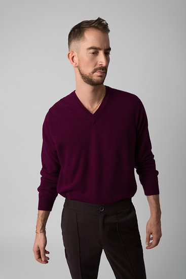 Cashmere V-neck Plum Sweater