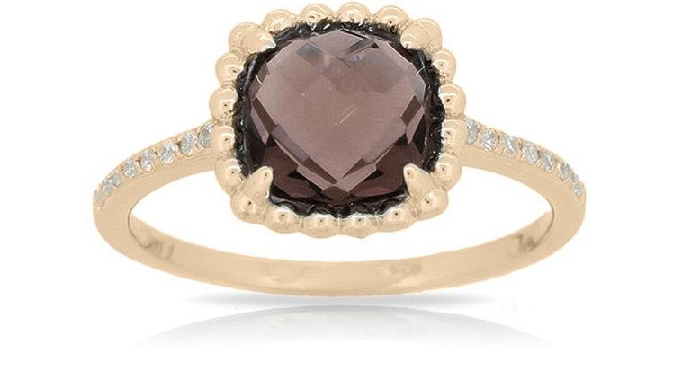 Yellow Topaz and Diamond Ring
