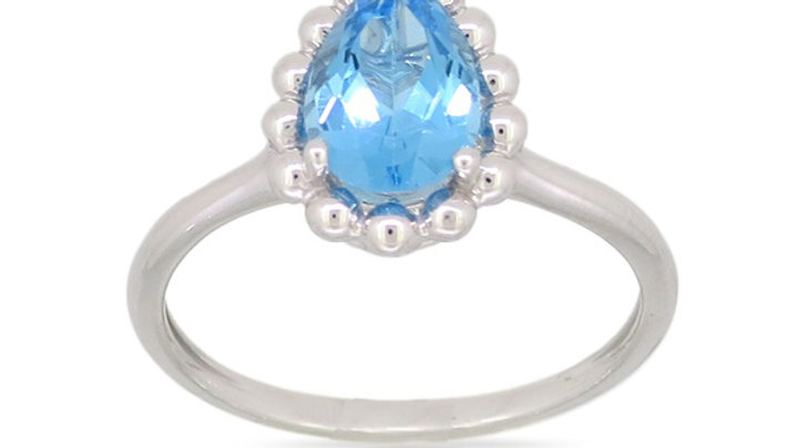 14K White Gold and Blue Topaz Ring