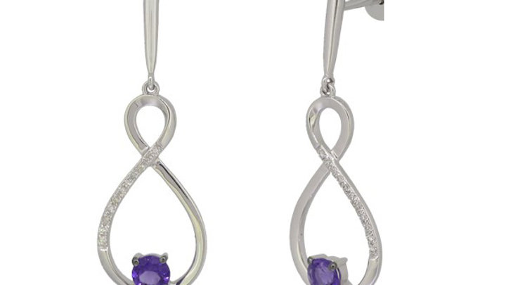 Amethyst and Diamond Earring