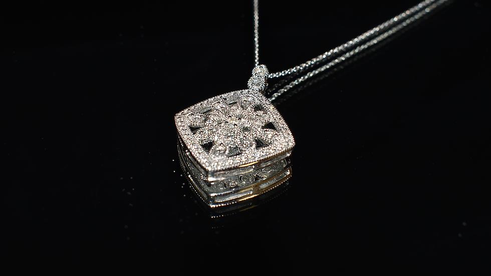 14K White Gold & Diamond Necklace