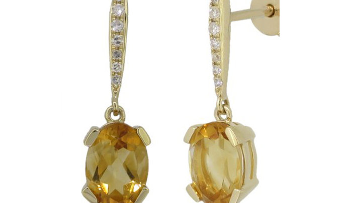 Citrine and Diamond Earring