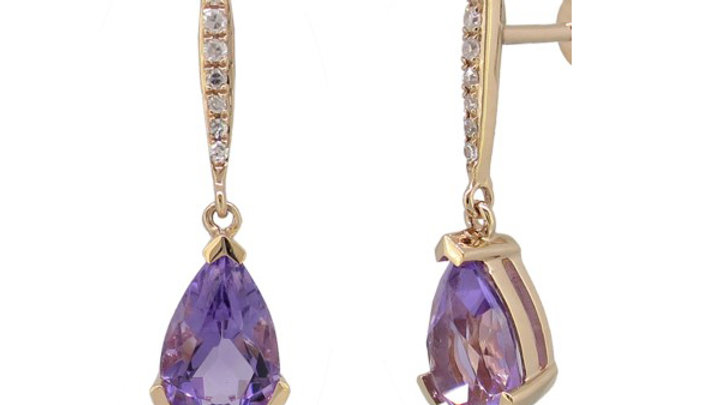 Amethyst and Diamond Earring