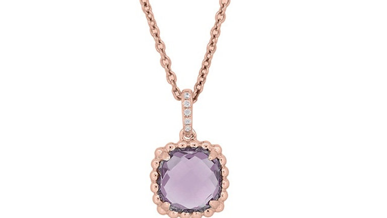 Amethyst and Diamond Rose Gold Pendant
