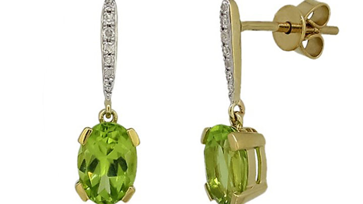 Green Peridot and Diamond Earring