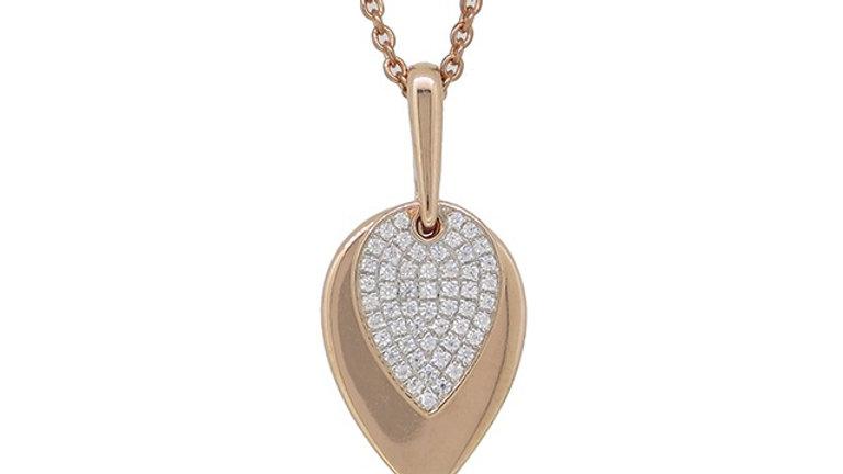 14K Rose Diamond Pendant
